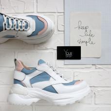Ботинки из белой кожи флотар со вставками Арт. As-9/Sonya2