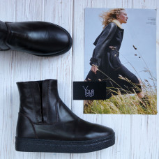 Ботинки из кожи цвета шоколад со скрытыми резинками Арт. 12-28Ls