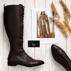 Высокие сапоги со шнуровкой из кожи флотар цвета шоколад Арт. 104-4