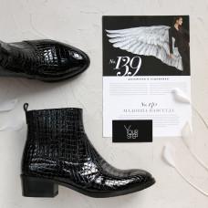 Ботинки из лаковой кожи черного цвета под рептилию  Арт. 306-4