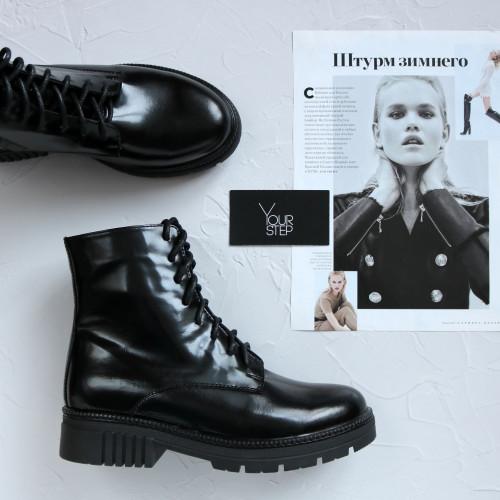 Ботинки из матового лака черного цвета  Арт. As-8/As17
