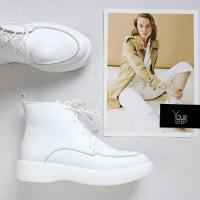 Ботинки из белой кожи  Арт. 156-7/Hill3