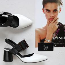 Туфли из белой и черной кожи на обтяжном каблуке с острым носом Арт. 657-17/47Ok