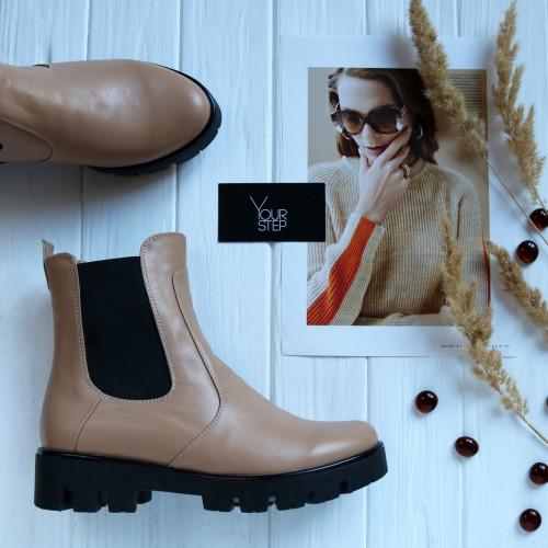 Ботинки Челси из кожи цвета карамель Арт. 12-1(S2)