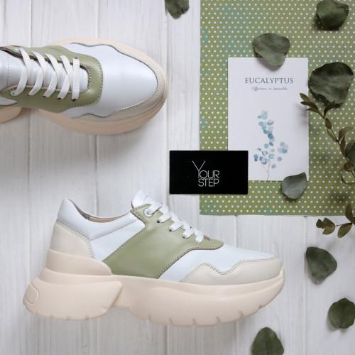 Кроссовки из белой кожи со вставками Арт. Kr-4/21042
