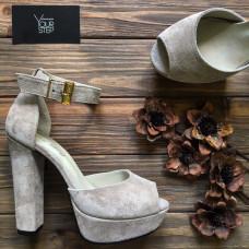 Босоножки на высоком каблуке из замши бежевого цвета Арт.: 951-6Ок