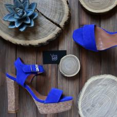 Босоножки на высоком каблуке из ярко-синей замши с пробковым каблуком Арт.: 853-2Ок