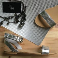 Босоножки из кожи цвета светлого серебра Арт.: 06-2