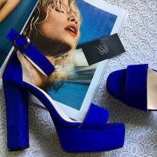 Босоножки ярко-синего цвета на высоком каблуке Арт.: 853-3Ок