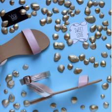 Босоножки из кожи цвета пудры и золота Арт.: 06-2