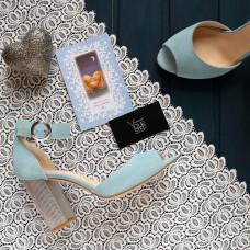 Босоножки из бледно-голубой замши с серебряным каблуком Арт. 95-6/42Serebro