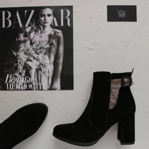 Ботинки на устойчивом каблуке из черной замши Арт. 805-1Ок