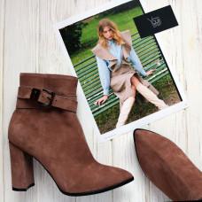 Ботинки на устойчивом каблуке цвета капучино с ремешком Арт. 35-10/44Ок-53738