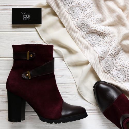 Ботинки бордового цвета на каблуке Арт. 52-2