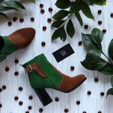 Ботинки из замши двух цветов с лаковым каблуком Арт. 805-1Ок