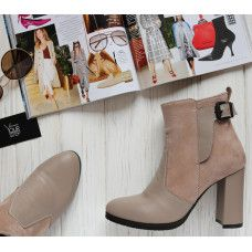Ботинки на устойчивом каблуке бежевого цвета Арт. 805-1Ок
