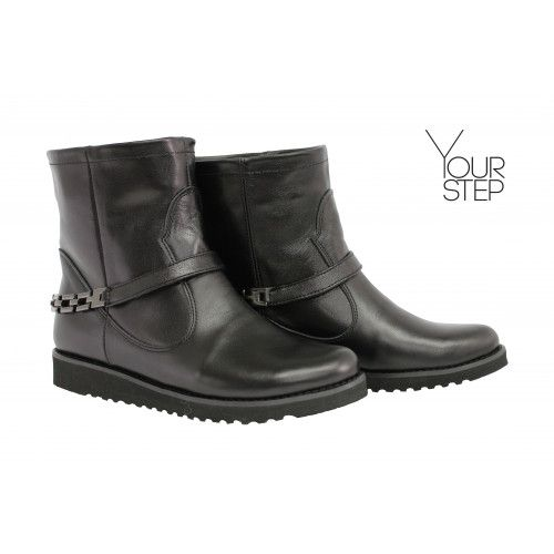 Ботинки из черной кожи со съемным ремешком Арт. 12-19F