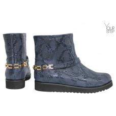 Ботинки из синего нубука под питон со съемной фурнитурой Арт. 12-19F