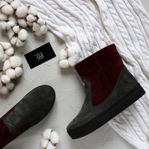 Ботинки из натуральной замши двух цветов Арт. 12-19Ls
