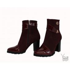 Ботинки бордового цвета с декоративными ремешками Арт. 52-2