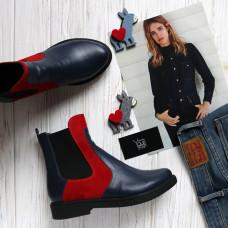 Ботинки челси из синей кожи с красными замшевыми вставками 12-1(Sn4)