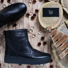 Ботинки из черной ребристой кожи Арт. 12-19Ls