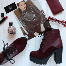 Ботинки бордового цвета Арт. 18-10Al4-0010