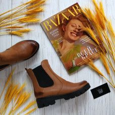 Ботинки Челси из натуральной кожи рыжего цвета с эффектом потертости на тракторной подошве Арт. 12-1(S2)