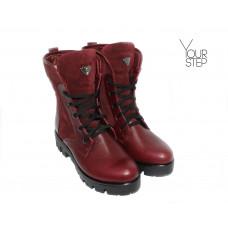 Ботинки бордового цвета со шнуровкой на тракторной подошве Арт. 12-6F(S2)