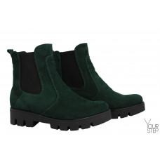 Ботинки Челси из зеленой замши на тракторной подошве Арт. 12-1(S2)