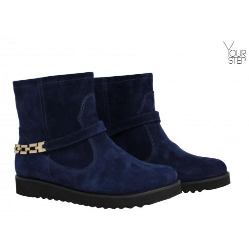Ботинки из синей замши со съемным ремешком Арт. 12-19F