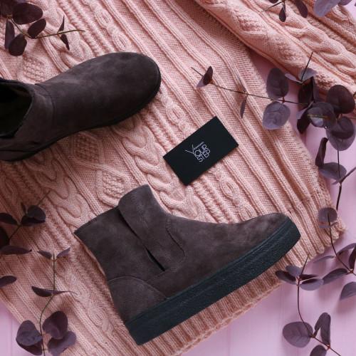 Ботинки из замши цвета какао со скрытыми резинками Арт. 12-28Ls