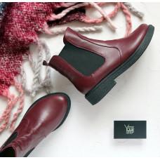 Ботинки челси из натуральной кожи бордового цвета 12-1(Sn4)