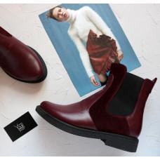 Ботинки челси бордового цвета 12-1(Sn4)