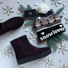 Ботинки из замши цвета баклажан Арт. 12-19Ls