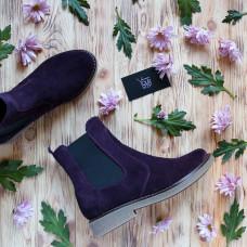 Ботинки челси из натуральной замши цвета баклажан 12-1(Sn4)