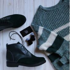 Ботинки из кожи и замши темно-зеленого цвета Арт. 12-20(Sn4)