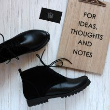 Ботинки из кожи и замши черного цвета Арт. 12-20Se