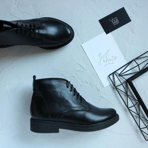 Ботинки из черной кожи Арт. 12-20(Sn4)