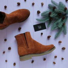Ботинки со скрытыми резинками из натуральной замши рыжего цвета Арт. 12-28(Sn4)