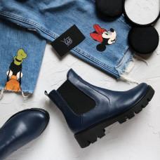 Ботинки Челси из синей кожи на тракторной подошве Арт. 12-1(S2)