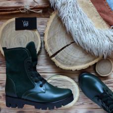 Ботинки зеленого цвета со шнуровкой на тракторной подошве Арт. 12-6F(S2)