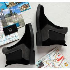 Ботинки челси из натуральной замши двух цветов 12-1(Sn4)