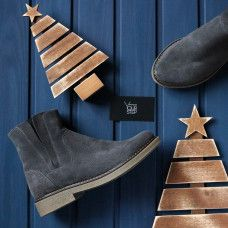 Ботинки со скрытыми резинками из натуральной замши серого цвета Арт. 12-28