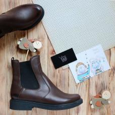 Ботинки Челси из натуральной кожи цвета шоколад с эффектом потертости Арт. 12-1(Sn4)