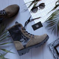 Ботинки из замши цвета капучино со вставками под камуфляж со шнуровкой на тракторной подошве Арт. 12-6(S2)