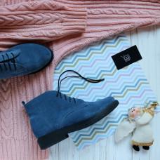 Ботинки из замши цвета джинс Арт. 12-20(Sn4)