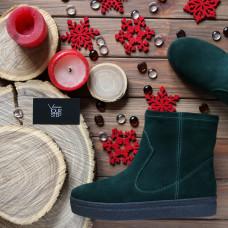 Ботинки из темно-зеленой замши Арт. 12-19Ls