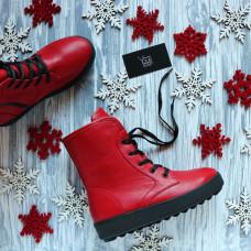 Ботинки из красной кожи 12-6(Ls6)