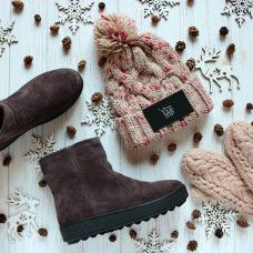 Ботинки из замши цвета какао 12-19(Ls6)